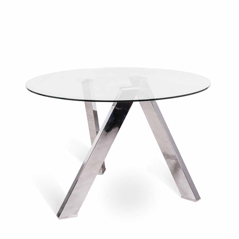 Tavolo da pranzo tondo con top in vetro Adamo, design moderno