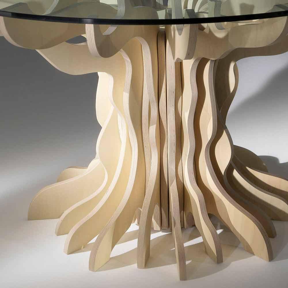 Tavolo da pranzo tondo in legno con piano in cristallo for Tavolo pranzo cristallo
