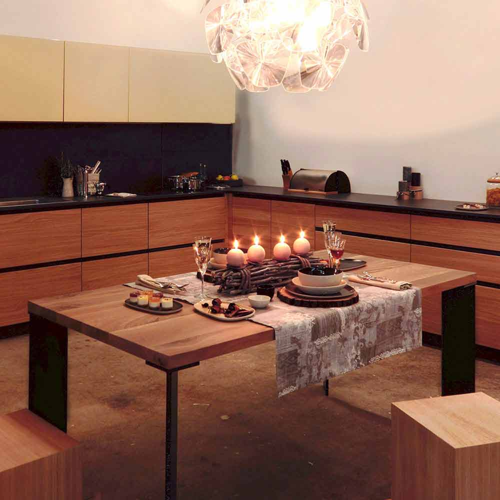Tavolo design moderno in legno noce naturale l180xp90cm for Tavolo in legno design