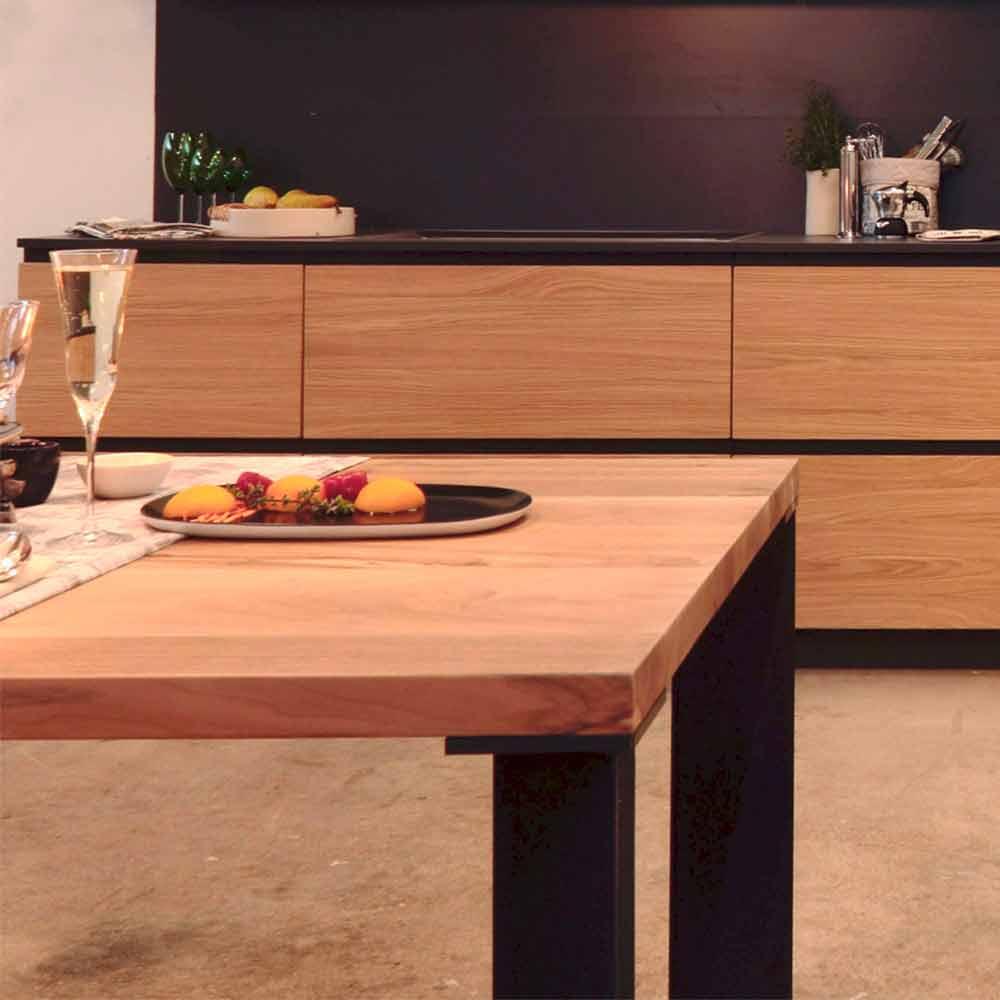 Tavolo design moderno in legno noce naturale l180xp90cm for Tavolo legno noce nazionale