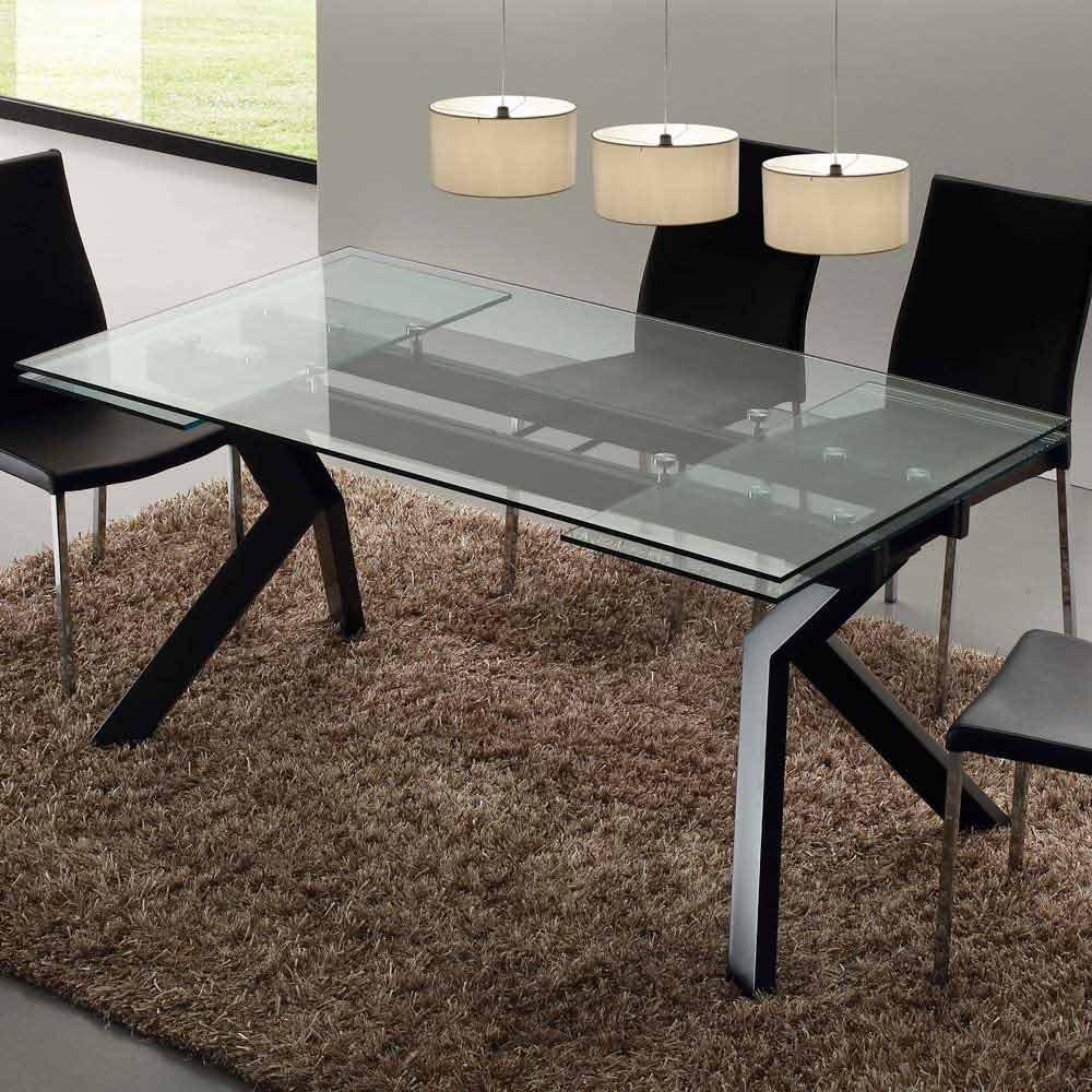Tavoli Allungabili Design Vetro.Tavolo Di Design Allungabile In Metallo E Vetro Temperato Mesa