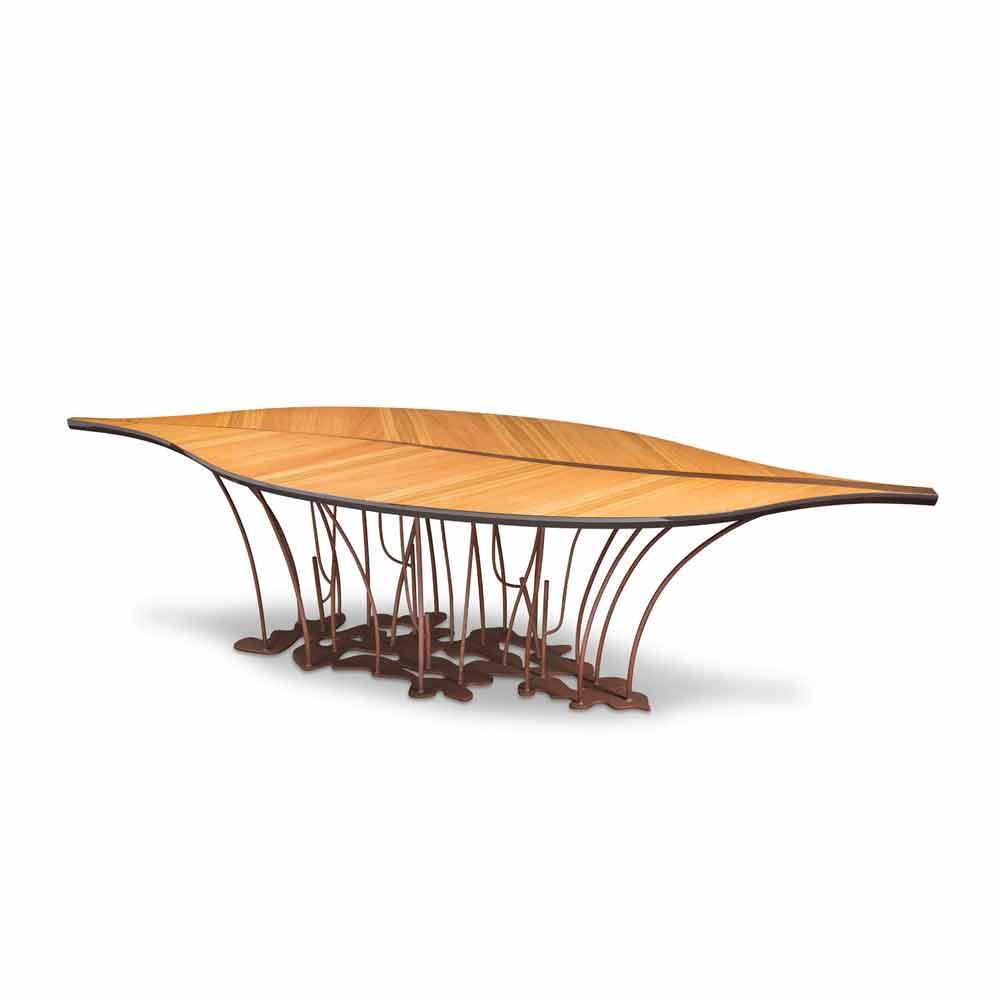 Tavolo di design impiallacciato rovere e legno di noce fenice for Tavolo consolle di design