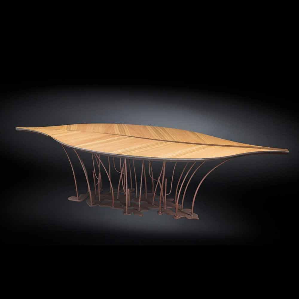 Tavolo di design impiallacciato rovere e legno di noce fenice for Tavolo di design
