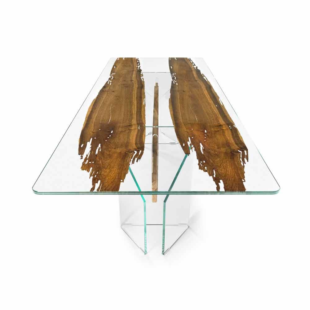 Tavolo di design in legno di briccola veneziana e vetro for Tavolo design vetro