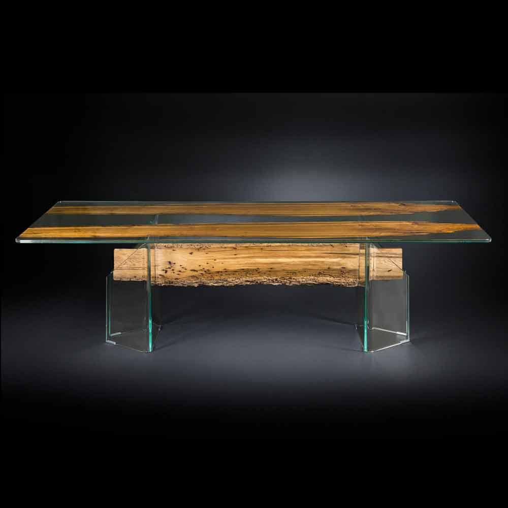Tavolo di design in legno di briccola veneziana e vetro for Immagini design