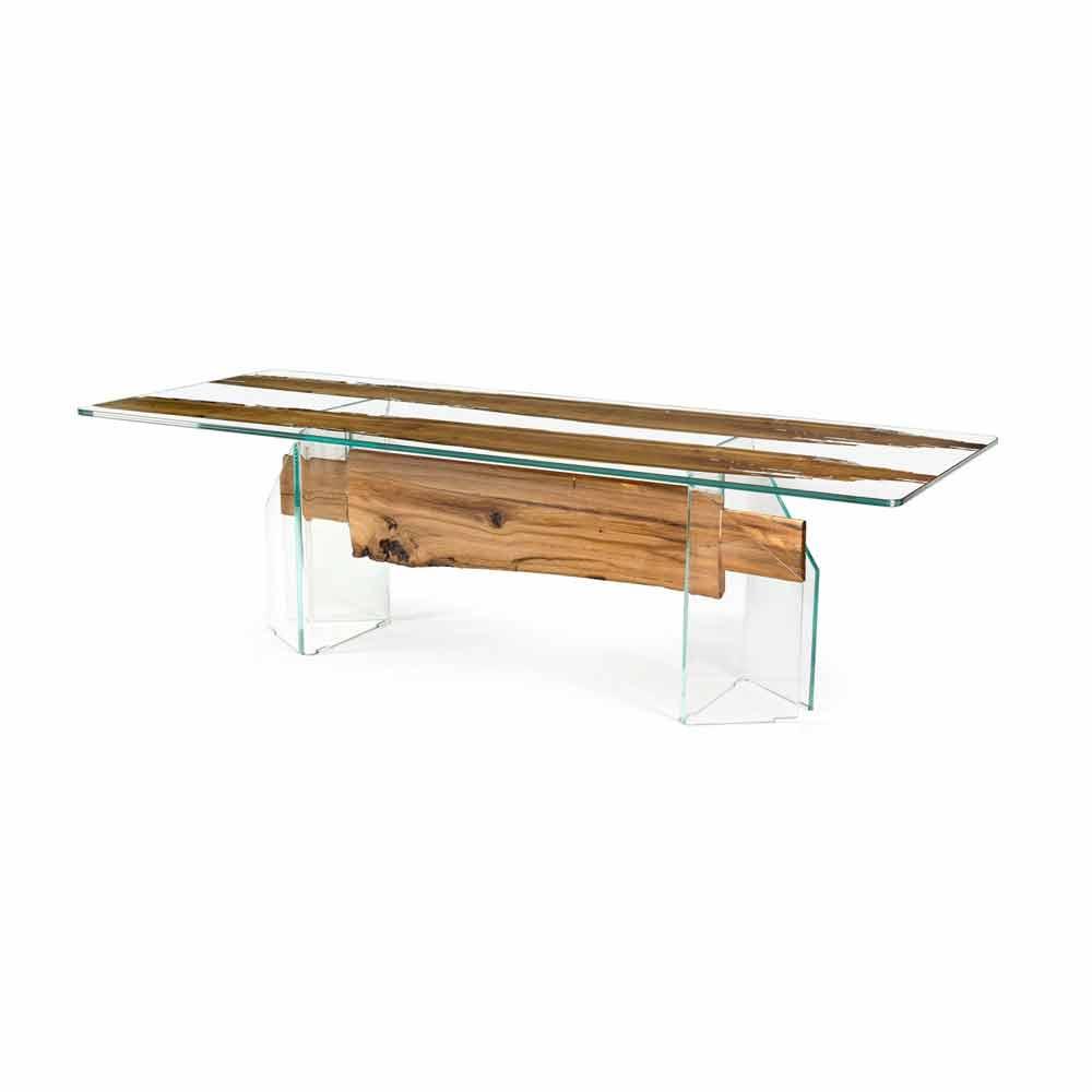 Tavolo di design in legno di briccola veneziana e vetro for Tavolo in legno design