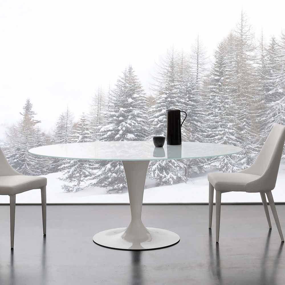Tavolo fisso ellittico in vetro temperato extrawhite e - Tavolo ellittico ...