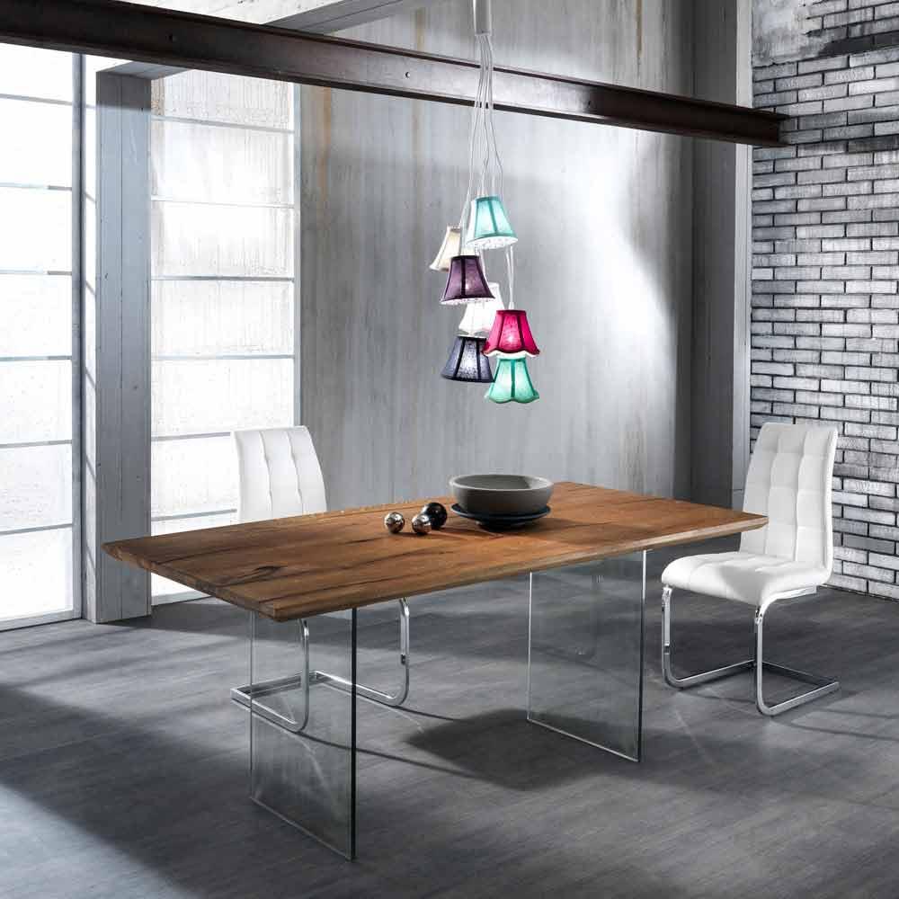 Tavolo fisso in legno massello con gambe in vetro for Tavolo vetro legno