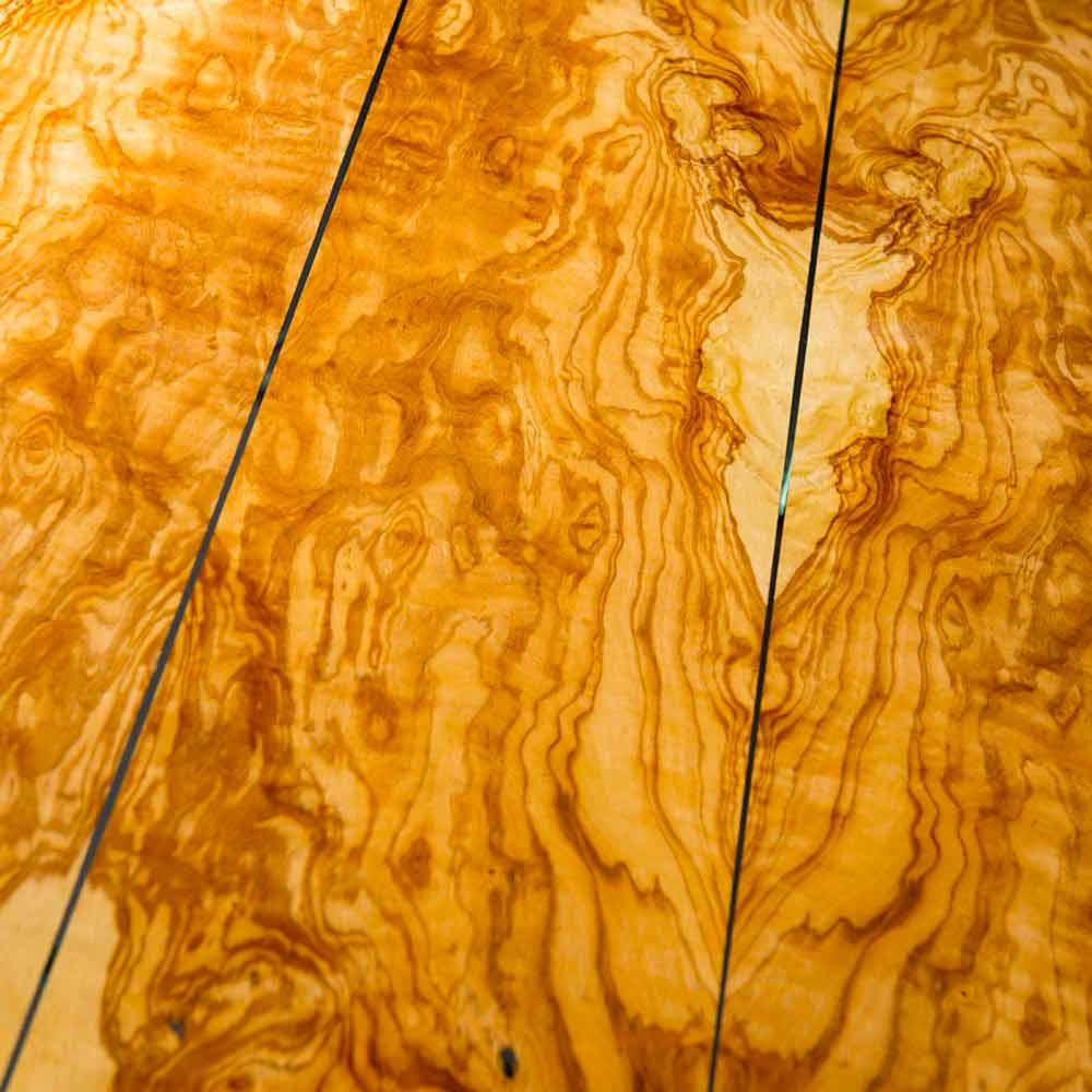 Tavolo in legno di olivo e vetro tondo portofino for Tavolo in legno d ulivo