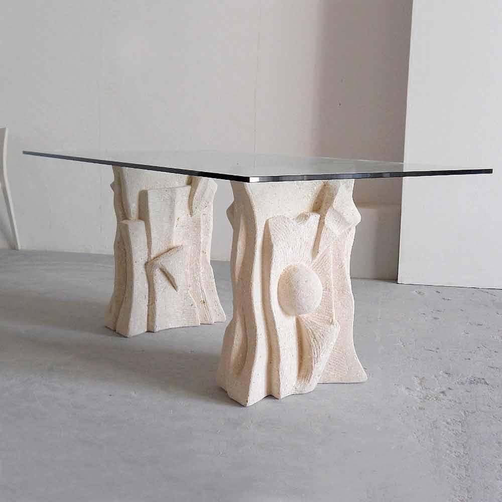 Tavolo in Pietra di Vicenza e cristallo, scolpito a mano, Priamo