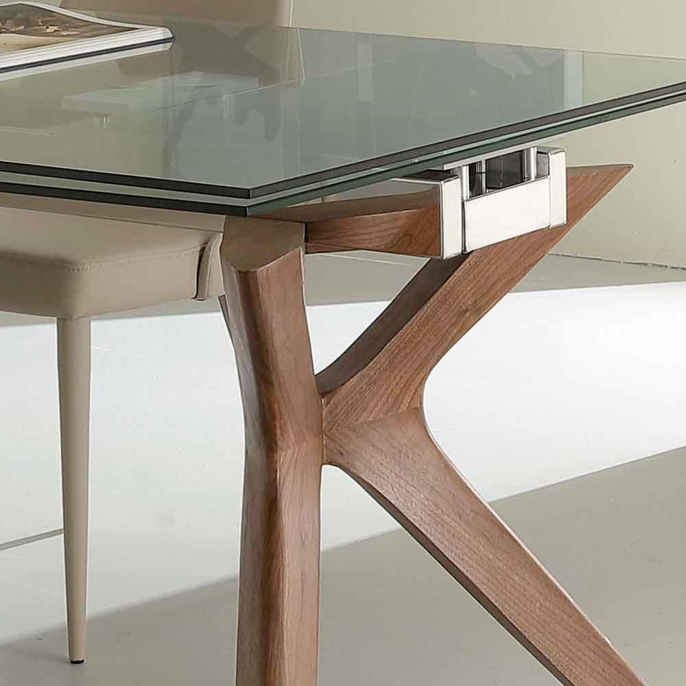 Tavolo moderno allungabile in acciaio inox e vetro for Tavolo vetro allungabile