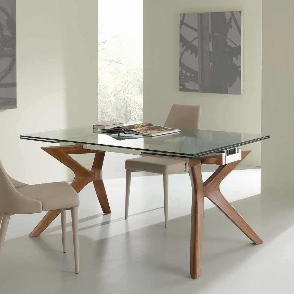 Tavolo moderno allungabile in acciaio inox e vetro - Tavolo cristallo design ...