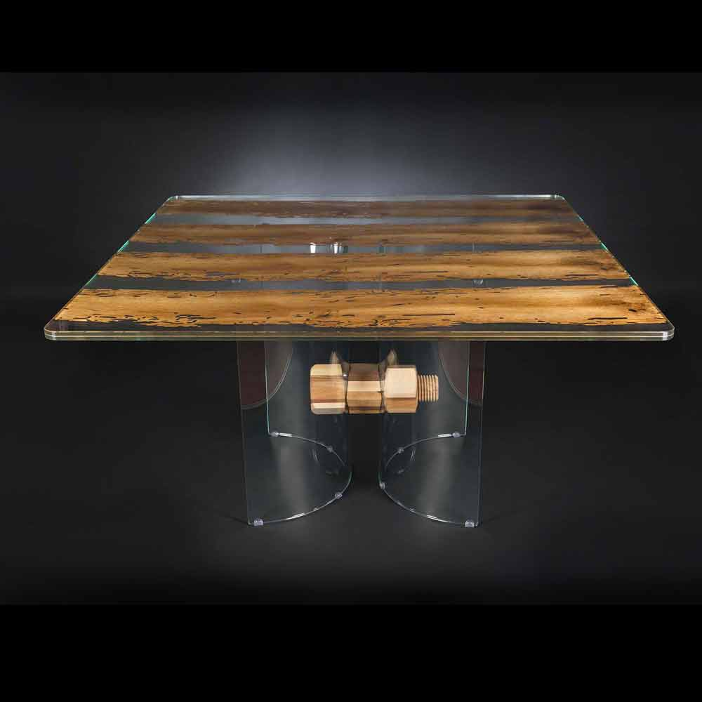 Tavolo moderno in legno di briccola veneziana e vetro for Tavolo moderno in legno