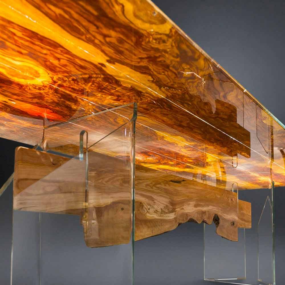 Tavolo moderno in legno di olivo e vetro rettangolare for Tavolo vetro e legno