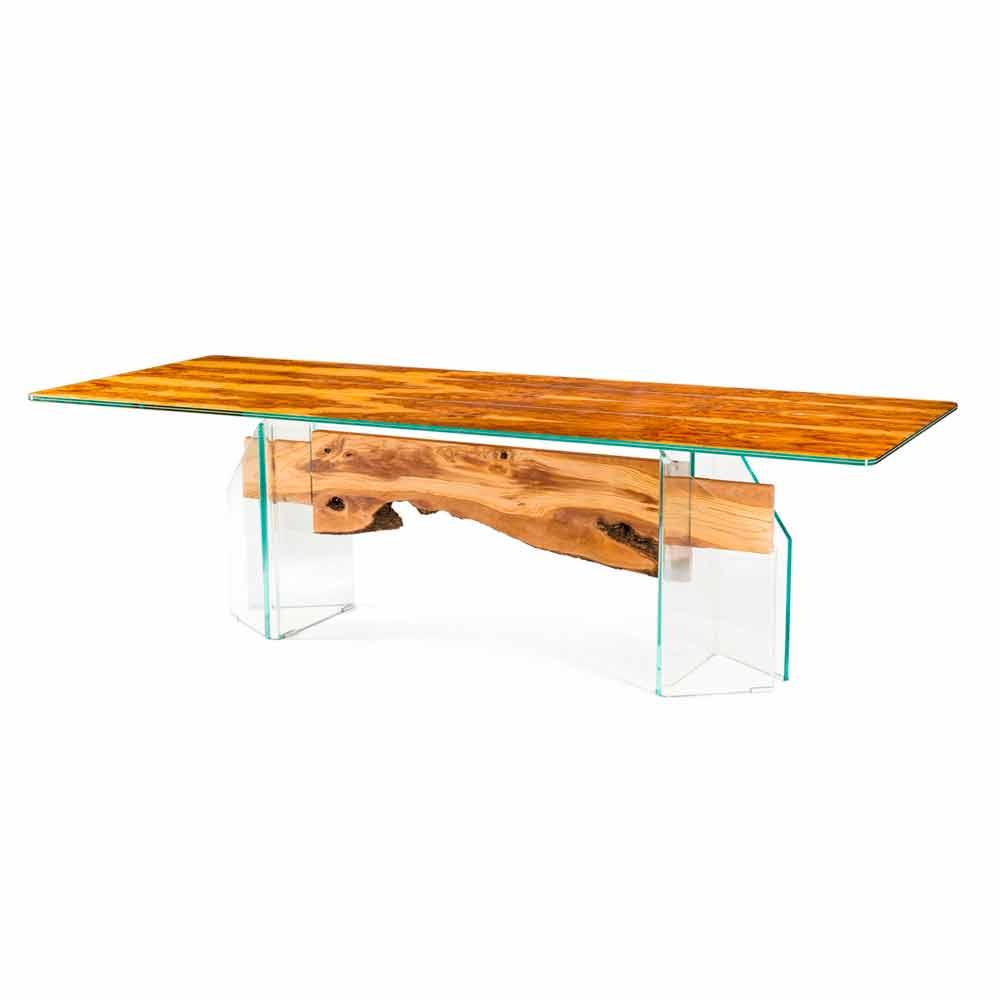 Tavolo moderno in legno di olivo e vetro rettangolare for Tavolo in legno moderno