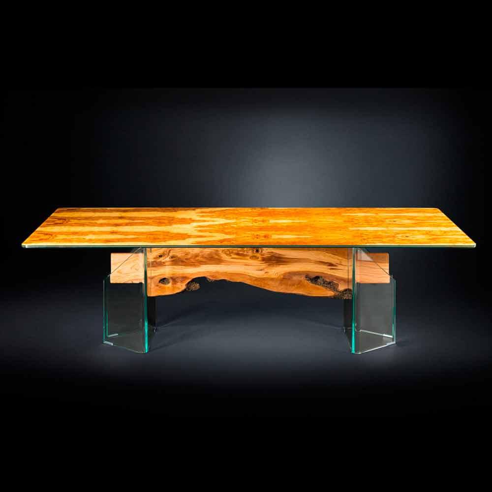 Tavolo moderno in legno di olivo e vetro rettangolare for Tavolo di legno