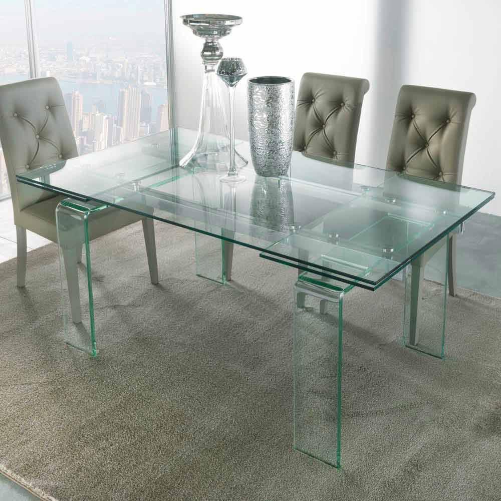 Tavolo moderno interamente in vetro temperato trasparente for Tavolo trasparente