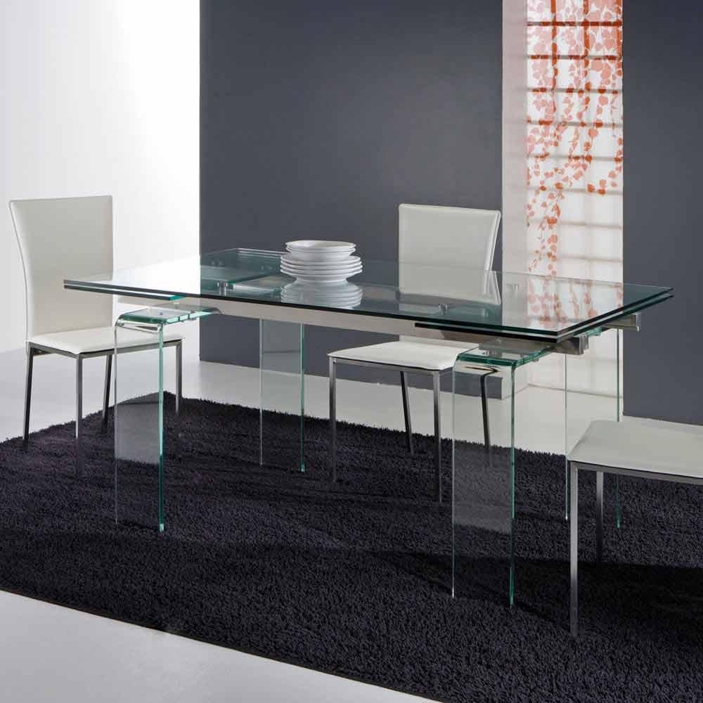 Tavolo moderno interamente in vetro temperato trasparente for Viadurini tavoli