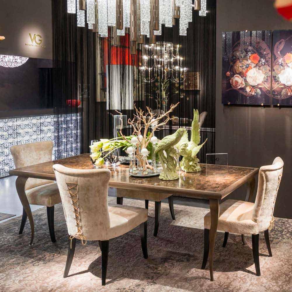 Tavolo neo classico con struttura in massello e piano in for Tavolo marmo design