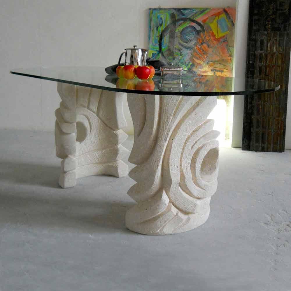 Tavolo ovale scolpito a mano in pietra di vicenza erinni - Tavolo cristallo ovale ...