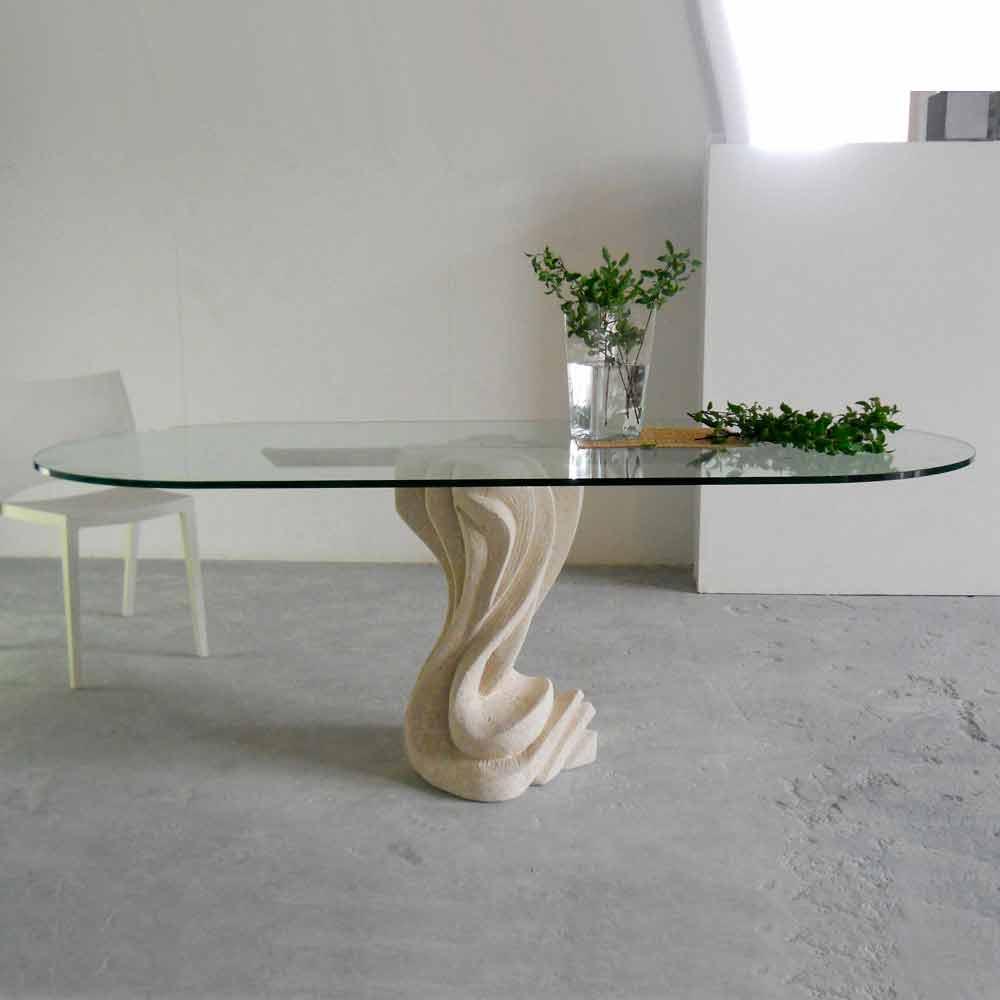 Tavoli In Pietra E Cristallo.Tavolo Ovale In Pietra Di Vicenza E Cristallo Agave Scolpito A Mano