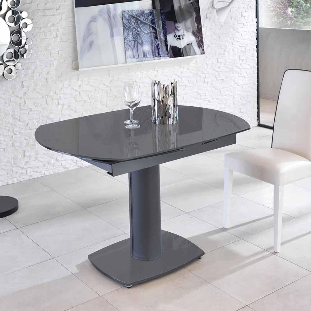Tavolo pranzo allungabile in vetro e similpelle, L120/180xP90cm, Lelia