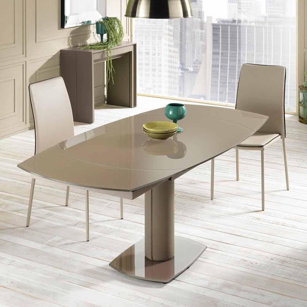 Tavolo pranzo allungabile in vetro e similpelle l120 180xp90cm lelia - Tavolo pranzo vetro ...