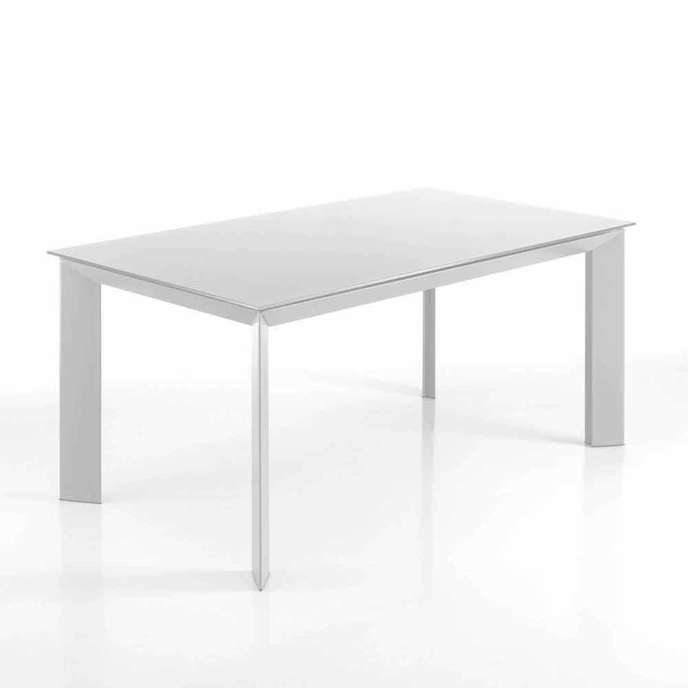 Tavolo rettangolare allungabile fino a 220 cm bianco opaco for Tavolo rettangolare
