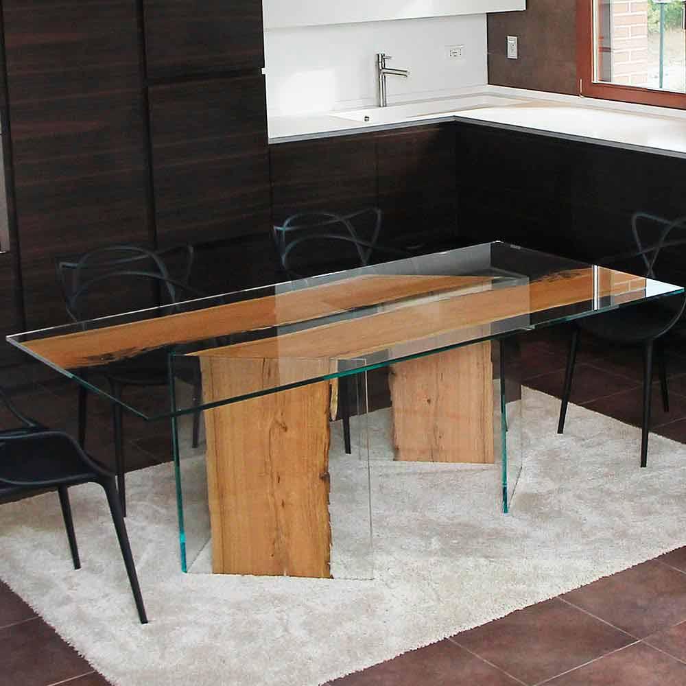 Tavolo rettangolare in legno di briccola di venezia e for Tavolo in legno design