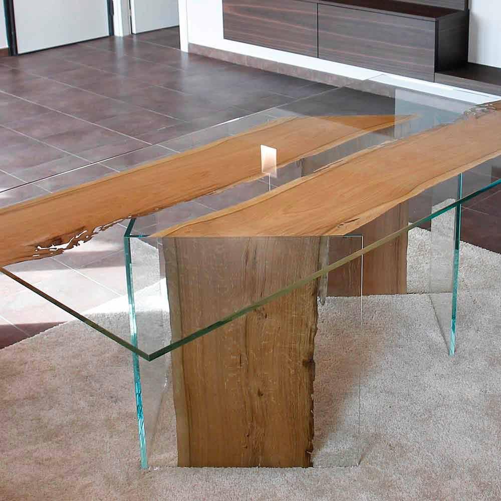 Tavolo rettangolare in legno di briccola di venezia e for Mensole legno naturale