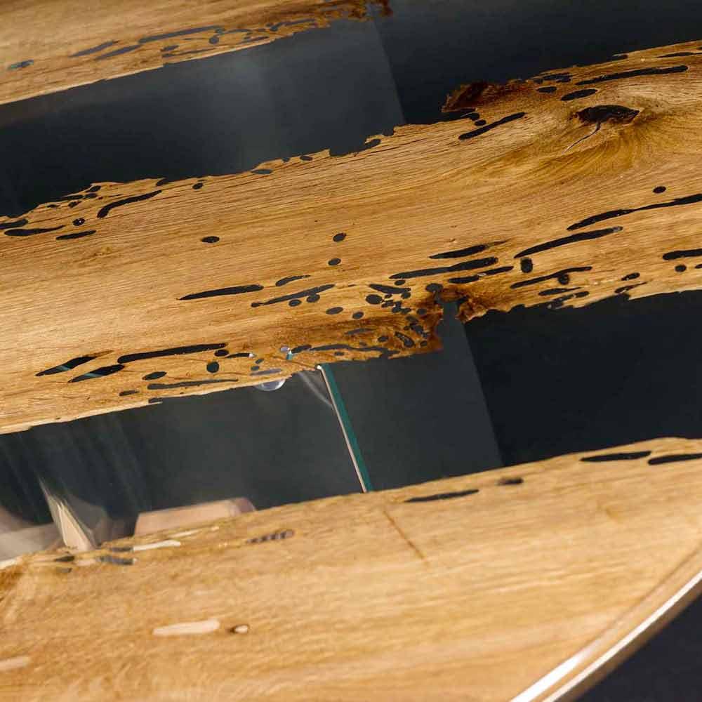 Tavolo rotondo di design in legno di briccola veneziana e for Tavolo vetro e legno