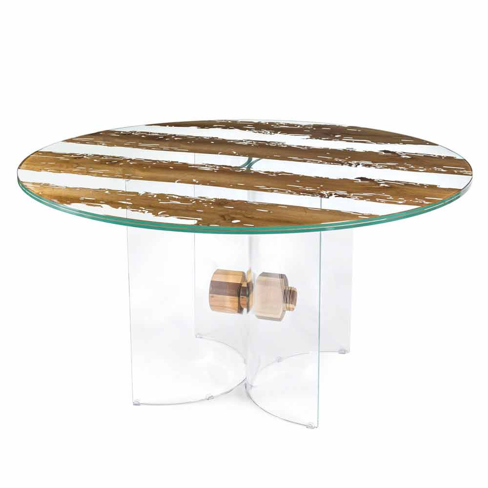 Tavolo rotondo di design in legno di briccola veneziana e for Suche tisch