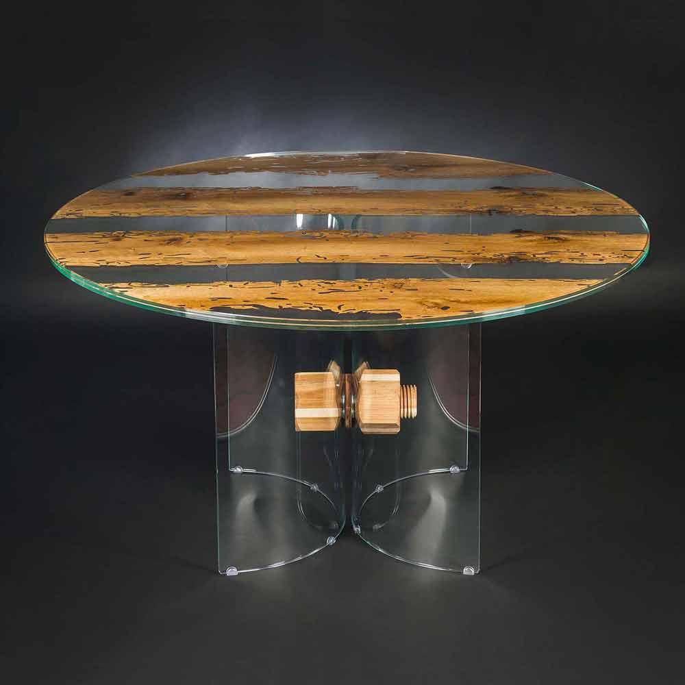 tavolo rotondo di design in legno di briccola veneziana e