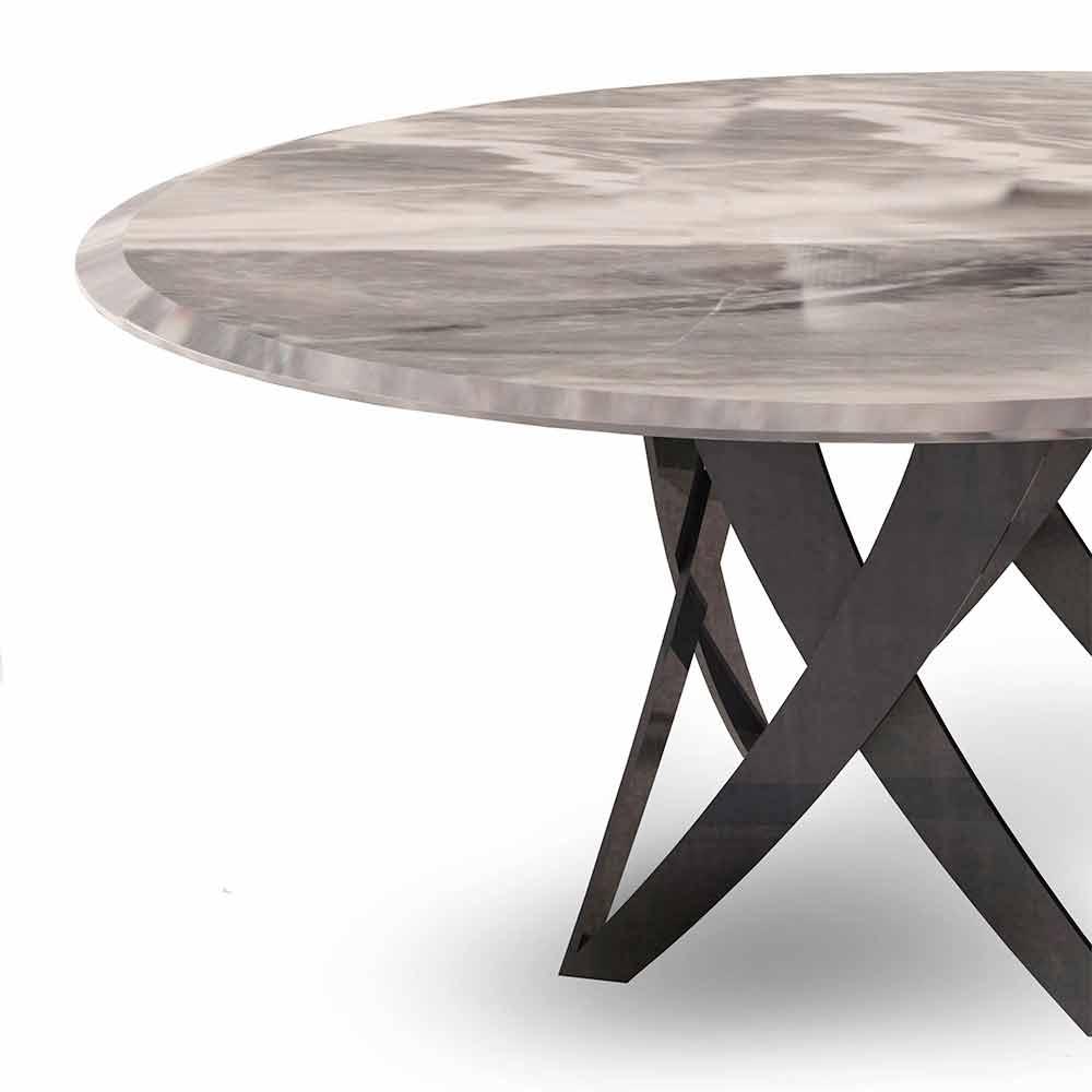 Tavolo Rotondo di Design in Marmo Imperial Grey Made in Italy