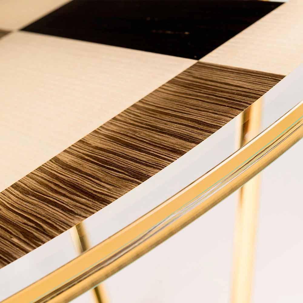Tavolo rotondo modeno con piano in vetro e intarsi di - Tavolo con piano in vetro ...