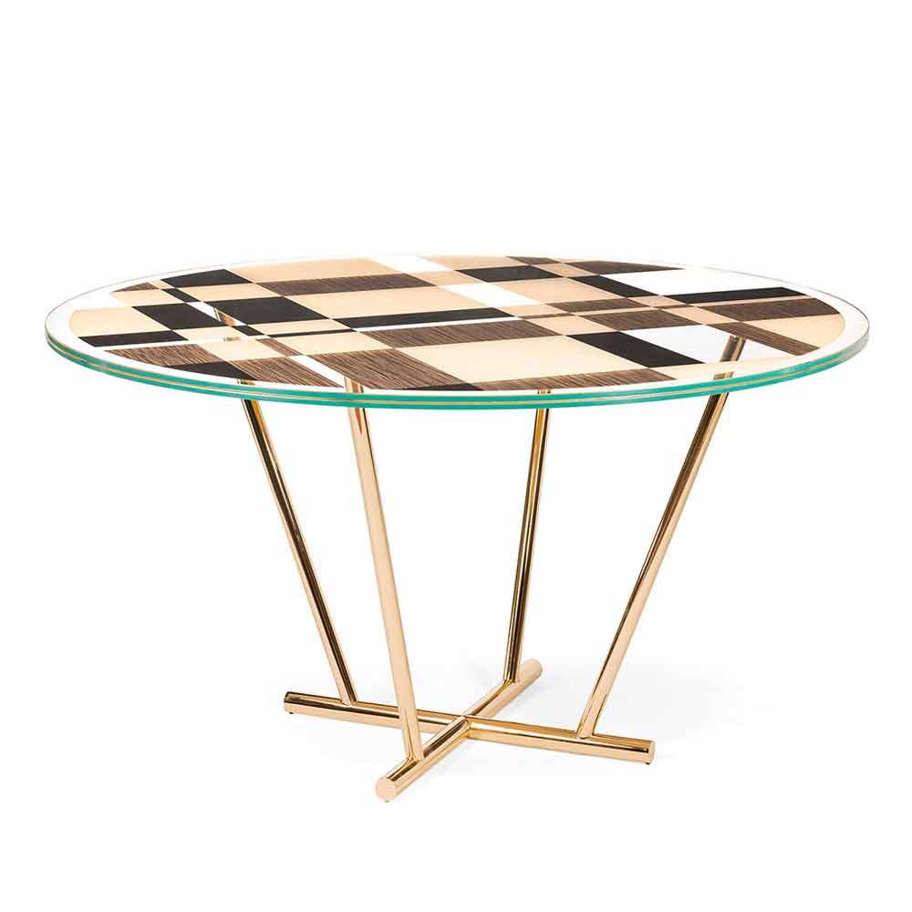 tavolo rotondo modeno con piano in vetro e intarsi di