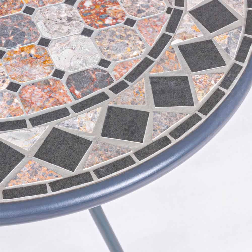 Tavolo Design Tondo da Giardino in Acciaio e Ceramica Decorata