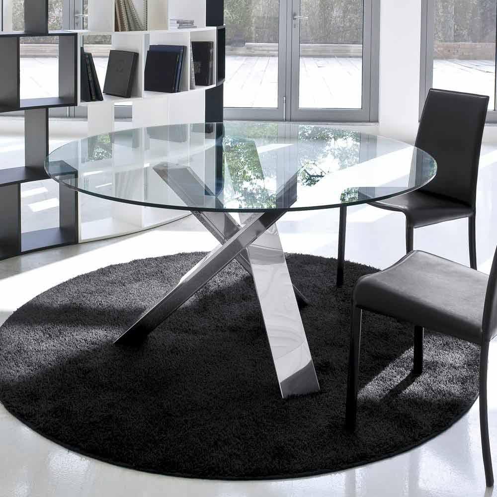 Tavolo tondo di design d.120 piano in cristallo made in Italy Cristal