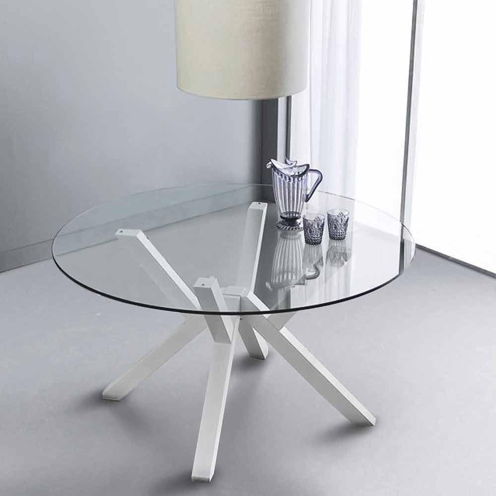 tavolo tondo fisso in vetro temperato e faggio massello
