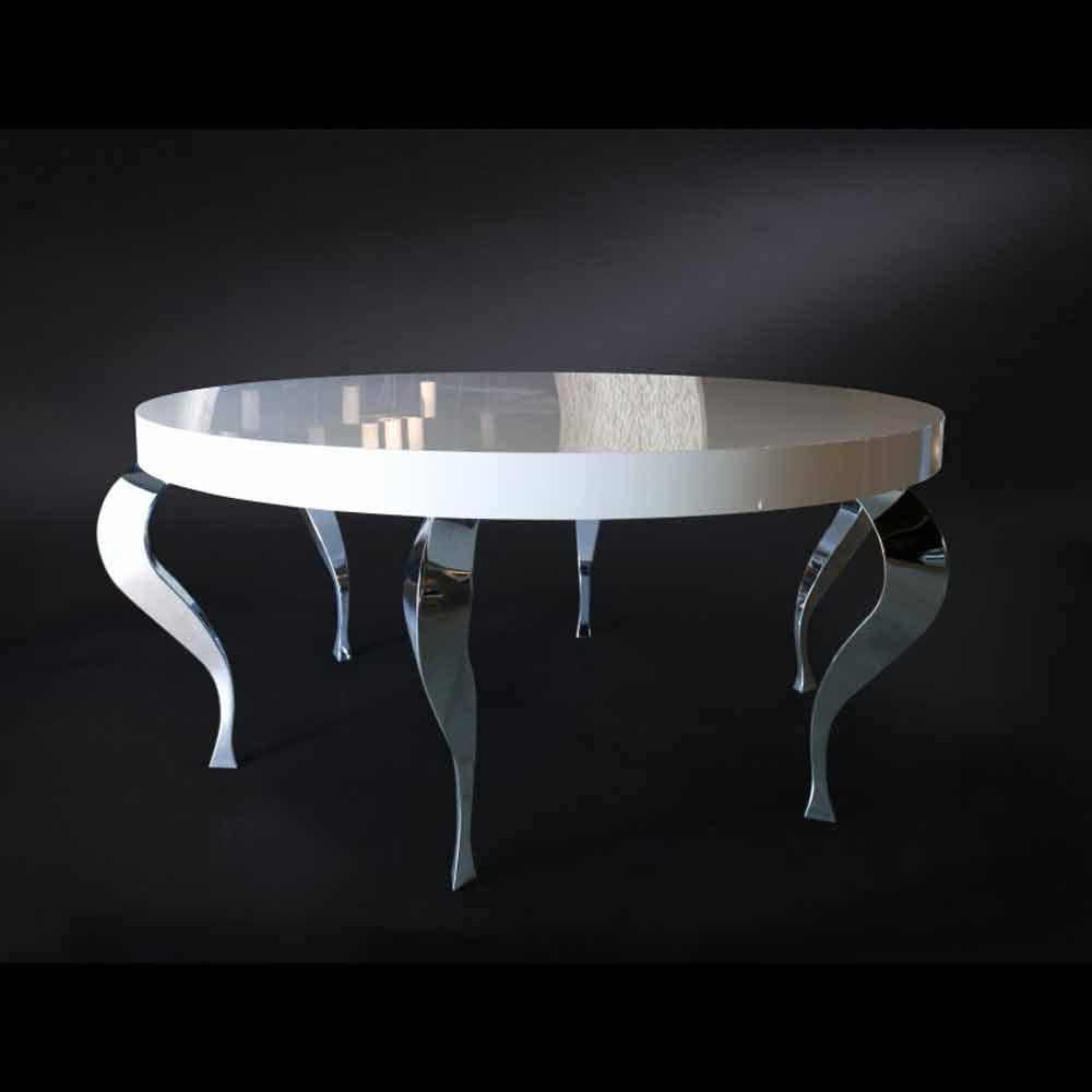 Tavolo tondo in stile classico rivisitato in mdf e acciaio for Tavolo acciaio design