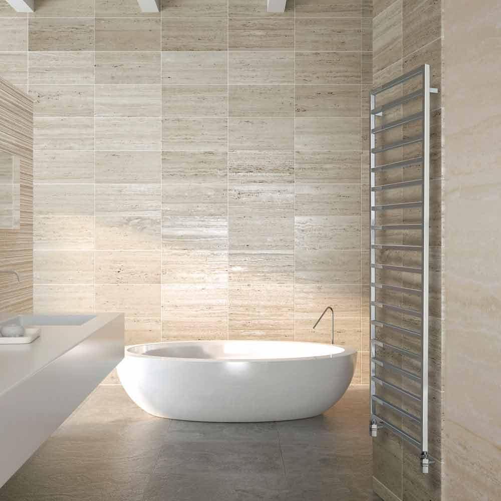 Termoarredo bagno idraulico di design finitura cromo winter scirocco h - Termoarredo design bagno ...