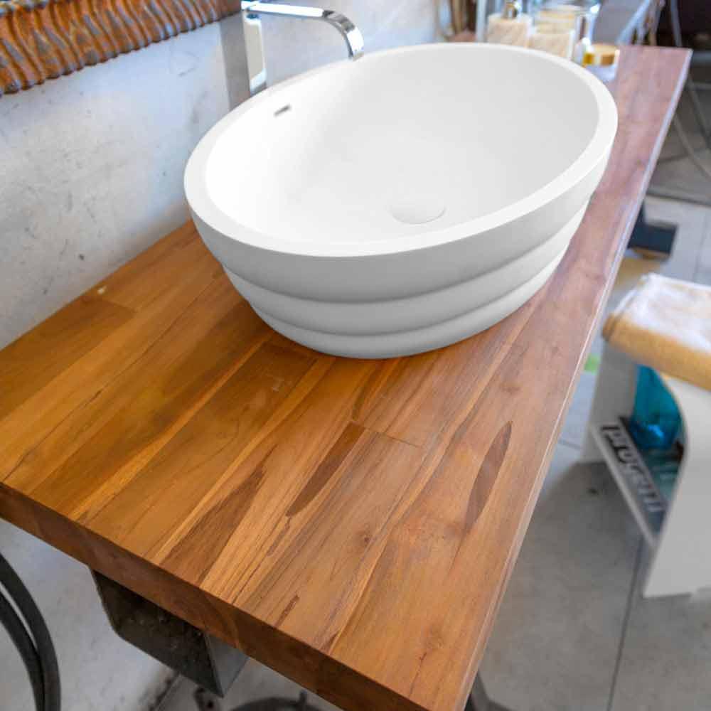 Top appoggio lavabo sospeso da bagno in teak listellare Norcia