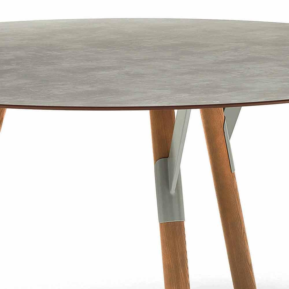 Varaschin link tavolo tondo da esterno con gambe in teak for Varaschin arredo giardino