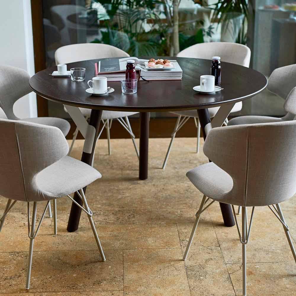 Varaschin Link tavolo tondo da esterno/interno design moderno, H 65 cm