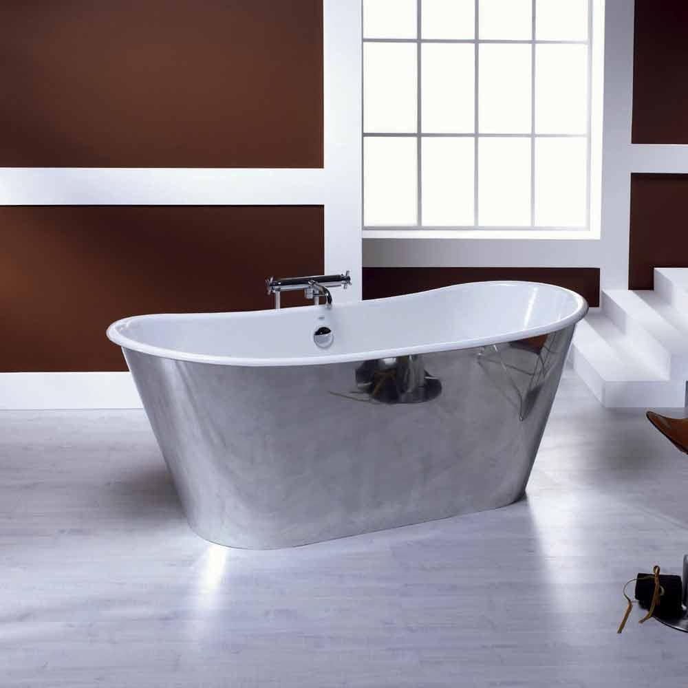 Vasca da bagno freestanding in ghisa placcata alluminio ida for Vasca da bagno bricoman