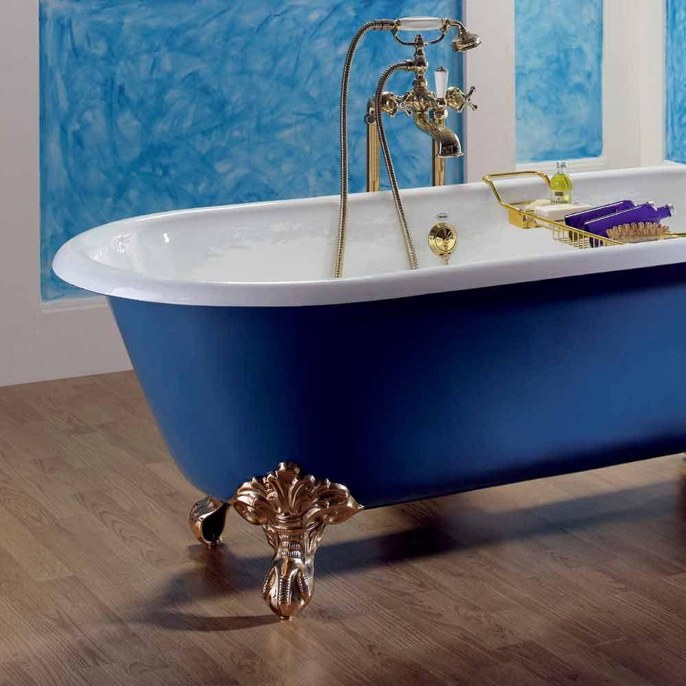 Vasca da bagno freestanding in ghisa verniciata con - Vasca da bagno piedini ...