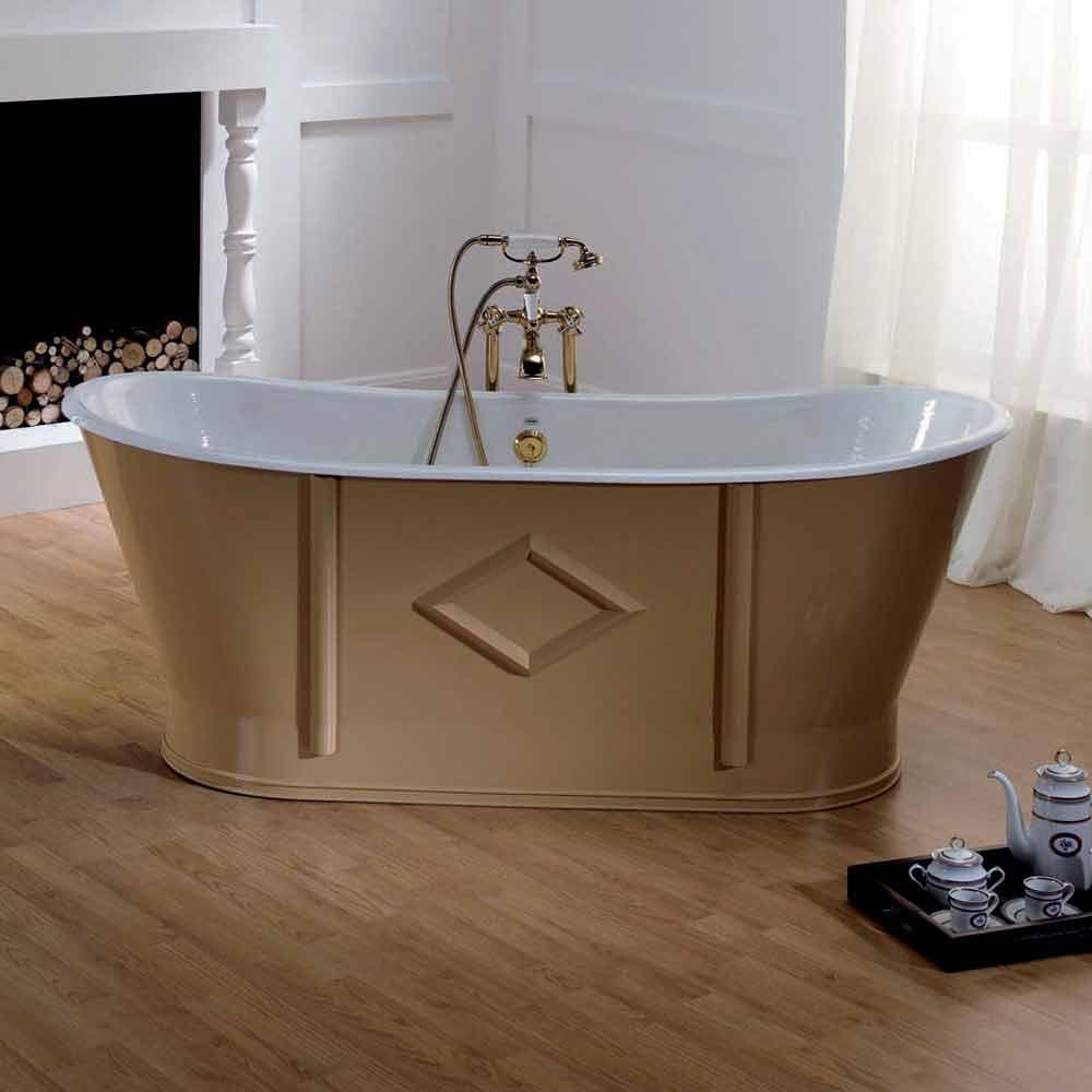 Vasca da bagno freestanding in ghisa verniciata e decorata - Vasca da bagno profonda ...