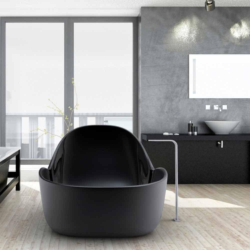 Vasca Da Bagno vasca da bagno nera : Vasca da bagno freestanding laccata, design moderno, Wave