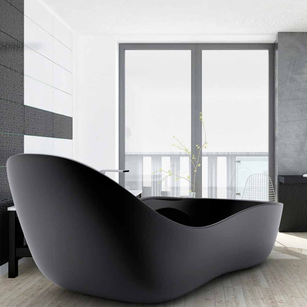 Vasca da bagno freestanding laccata design moderno wave for Design moderno