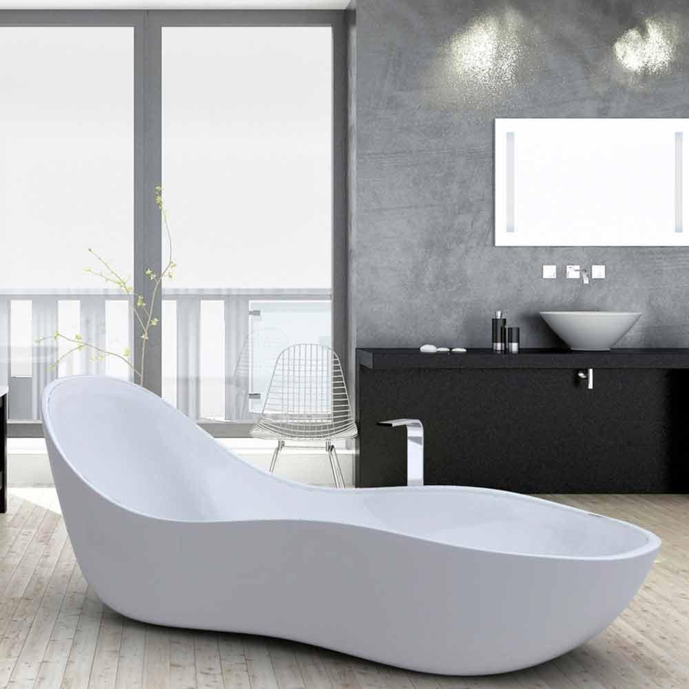 Vasca da bagno freestanding laccata, design moderno, Wave